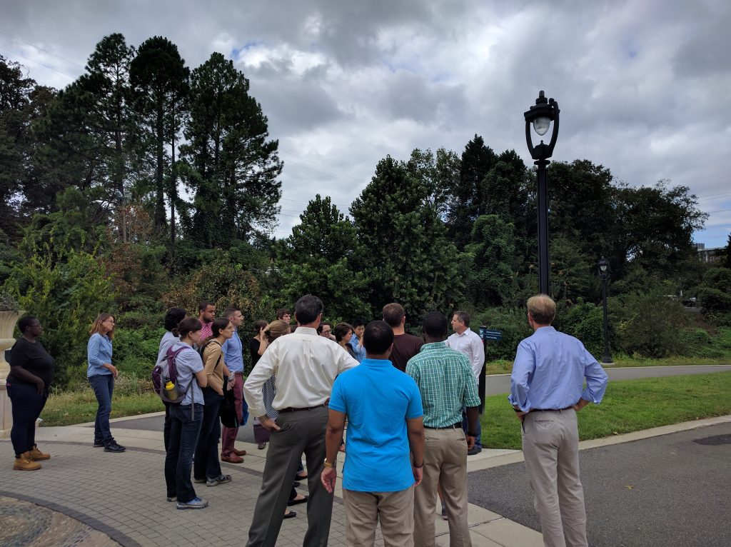 """UNC class """"Planning for Natural Hazards and Climate Change Adaptation"""" takes a field trip to see Charlotte-Mecklenburg County Storm Water Services' work on the Midtown Urban Greenway. Photo by Ashton Rohmer"""