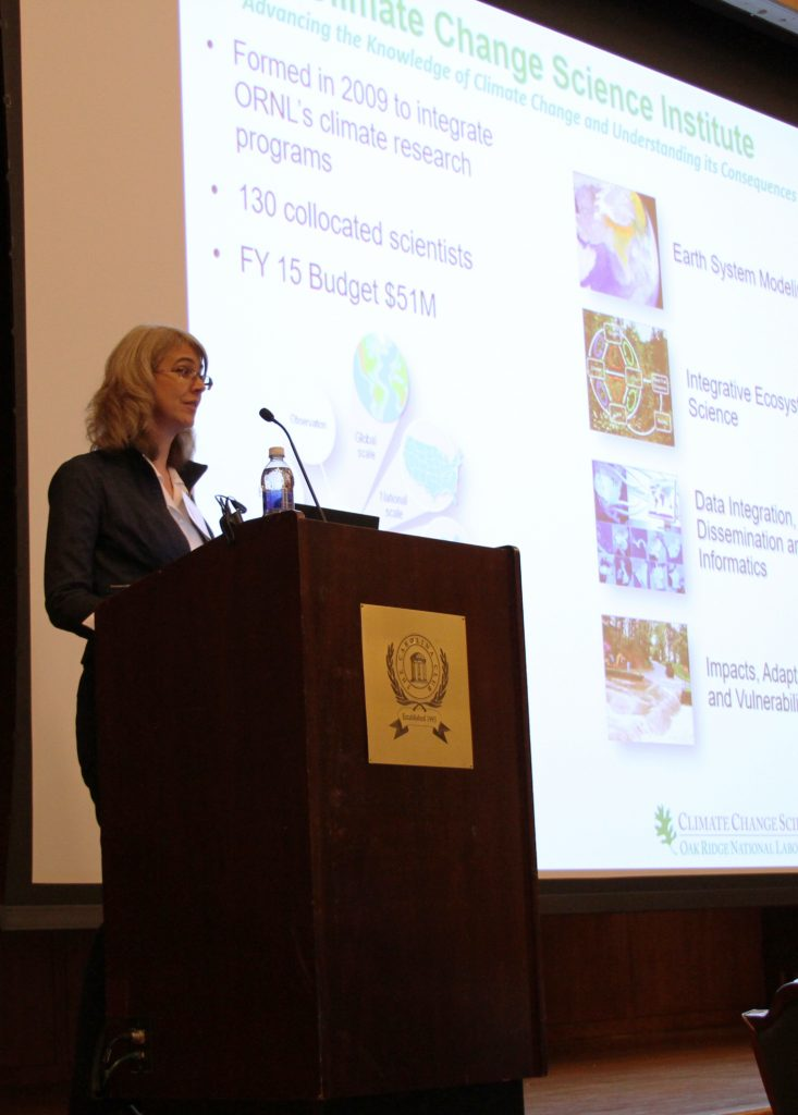 """Dr. Melissa Allen, Post-Doctoral Research Associate, Computational Science and Engineering Division, Oak Ridge National Laboratory, spoke during the third session, """"Enhancing the Resilience of Coastal Infrastructure."""""""