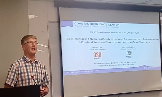 Dr. Dan Cox of Oregon State University (a CRC Principal Investigator) presents on his CRC project at the conference. Photo by Dr. Ismael Pagan-Trinidad.