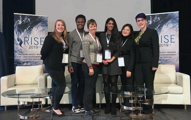 CRC funded five students to attend the 2019 RISE conference at the University of Albany. From left: Emily Gvino, Alex Halloway, UNC faculty member Dr. Shaleen Miller. Siri Nallaparaju, Keijing Zhou and Sarah Lipuma. Photo submitted.