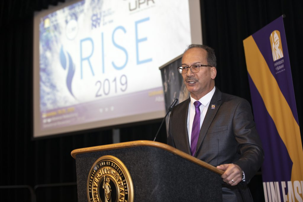 Havidán Rodríguez, President, University at Albany, State University of New York, speaks during the RISE Conference. Photo by University of Albany.