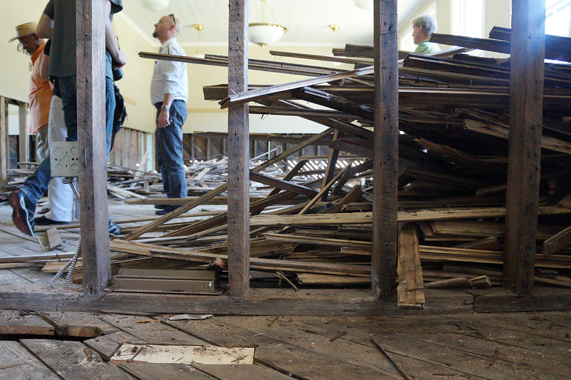 Princeville, N.C., officials give a tour of the damage to the town museum, which was damaged by Hurricane Matthew. Photo by Jessica Southwell.
