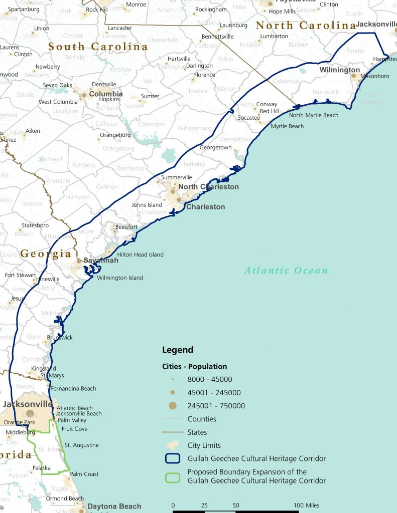 The Gullah Geechee Corridor extends 425 miles along the Atlantic Coast and 30 miles inland from the northern border of Pender County, North Carolina, through South Carolina and Georgia to the southern boundary of St. Johns County, Florida. The Corridor encompassess all or part of 27 counties. Image from the National Park Service.