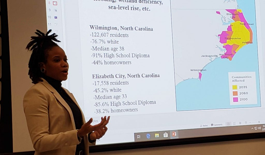 Dr. Dovil highlights the two communities surveyed as part of her 2019 project. Photo by Josh Kastrinsky.