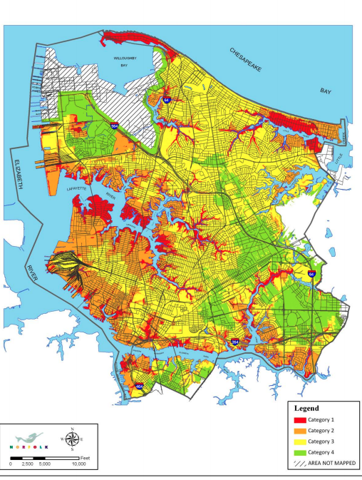 Norfolk's susceptibility to flooding from storm surge, from the city's plaNorfolk2030 planning publication.