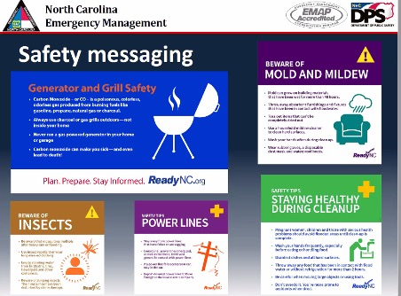 "North Carolina Emergency Management ""Safety messaging"" from Keith Acree's Natural Hazard Resilience Series guest lecture."
