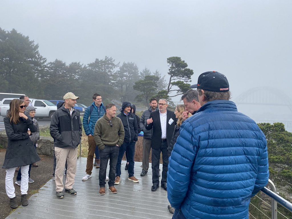 Dr. Peter Ruggiero of OSU shows members of the CERB some of the engineering challenges at North Yaquina jetty.