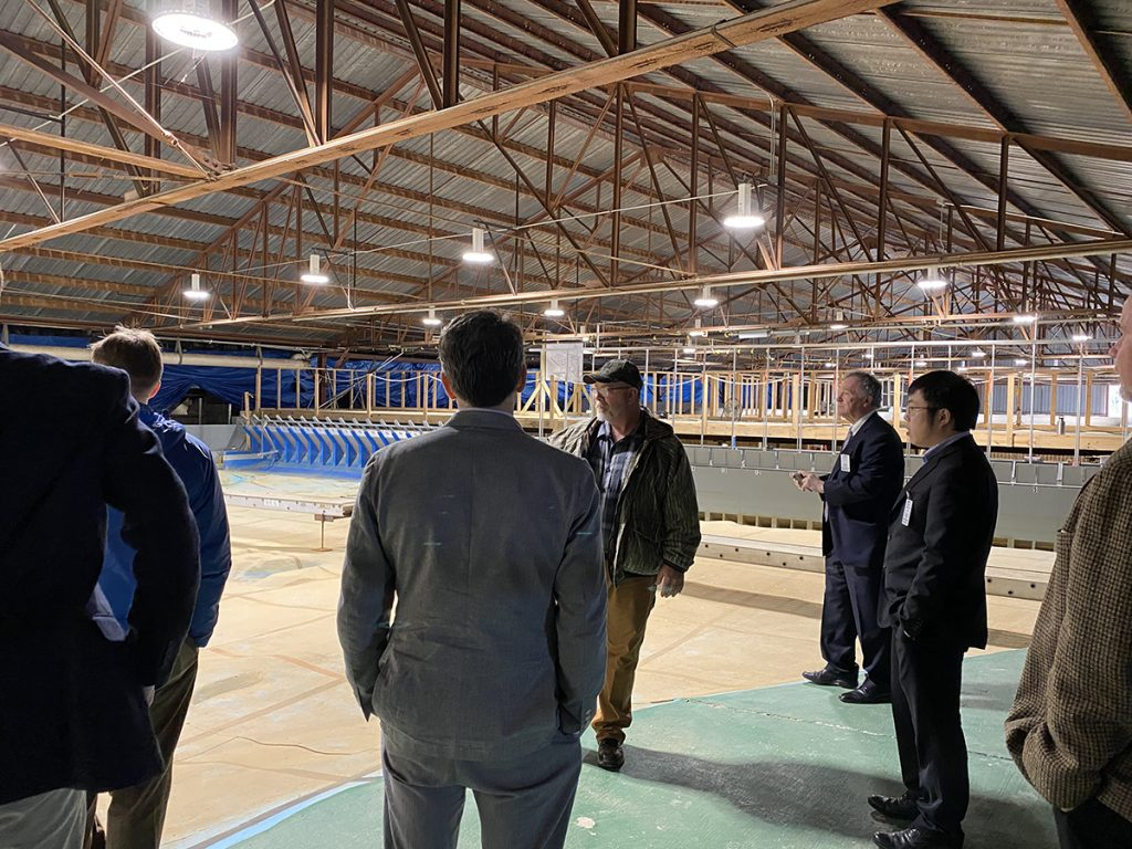 While visiting the Coastal Hydraulics Lab at ERDC, Straub toured the John Day lock and dam model study of the Columbia river.