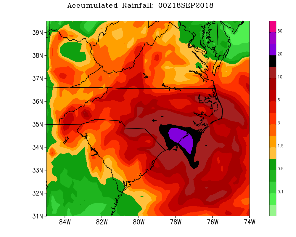 Rainfall total from Hurricane Florence (2018). Graphic by Jackson Wiles.