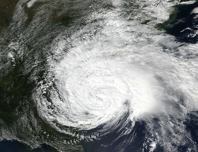 Hurricane Florence (2018), as captured over North Carolina by NASA satellites.