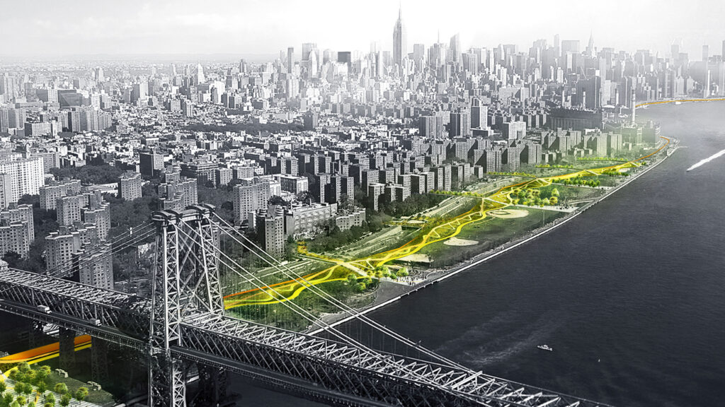 The BIG U, designed by firm BIG, combines hard and soft flood water management strategies to mitigate the impacts of sea level rise on Manhattan. The 16-kilometer park area serves a variety of different human needs based on neighborhood contexts. Credit: Dezeen.com.